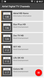 screenshot of Airtel Digital TV Channels version 1.0