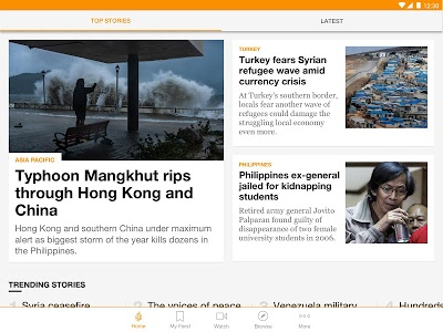 screenshot of Al Jazeera English version 4.1.0