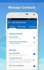 screenshot of Auto Call Recorder 2017 version 1.38