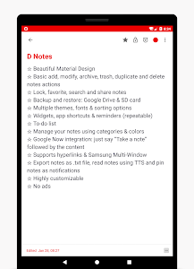 screenshot of D Notes - Smart & Material - Notes, Lists & Photos version 2.1.19