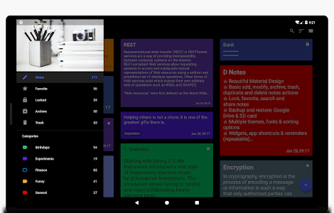 screenshot of D Notes - Smart & Material - Notes, Lists & Photos version 2.1.22