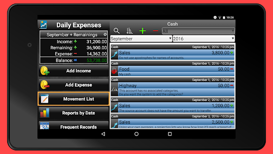 screenshot of Daily Expenses 2 version 2.6.69