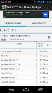 screenshot of Delhi DTC Bus Timings & Routes version 1.4
