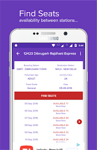 screenshot of Mobile Ticket Booking (IRCTC) version 10.0.37