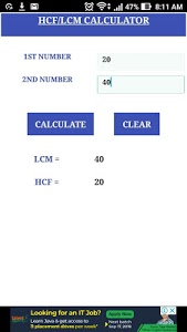 screenshot of HCF LCM CALCULATOR version 1.0