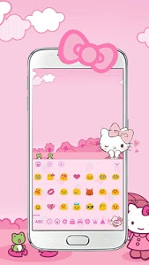 Download Pink Cute Kitty Bowknot Cartoon keyboard Theme 10001005 APK