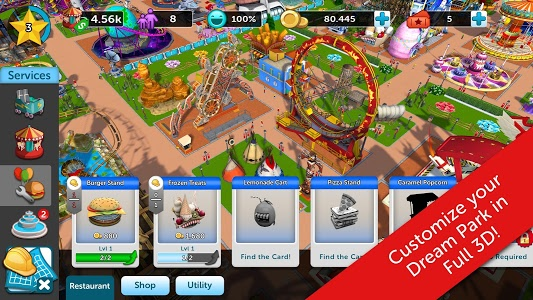 screenshot of RollerCoaster Tycoon Touch version 1.7.44