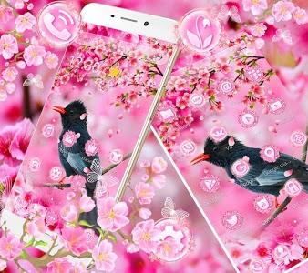 screenshot of Sakura Pink Flower Bird Theme version 1.1.2